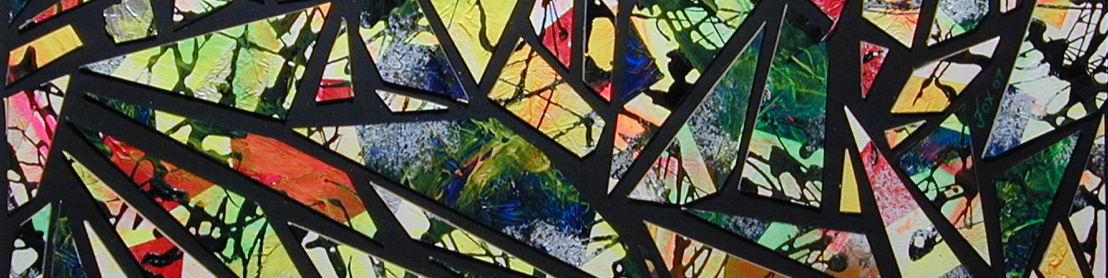 "Cut-away of a mixed media painting by Janet Fox titled ""Faux Stained Glass"" in collaboration with SaikoLED."