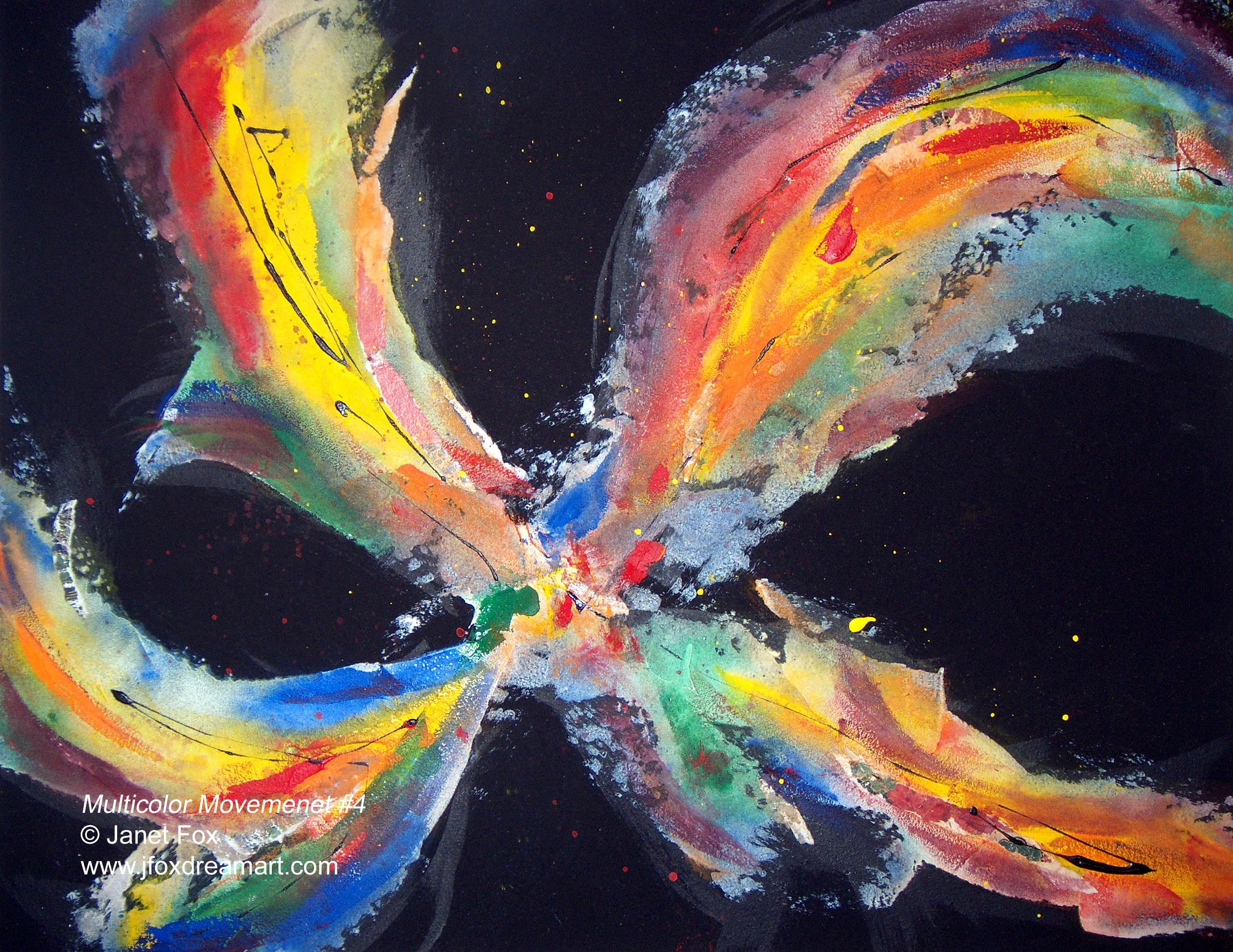 "Image of a mixed media painting by Janet Fox titled ""Multicolor Movement #4."