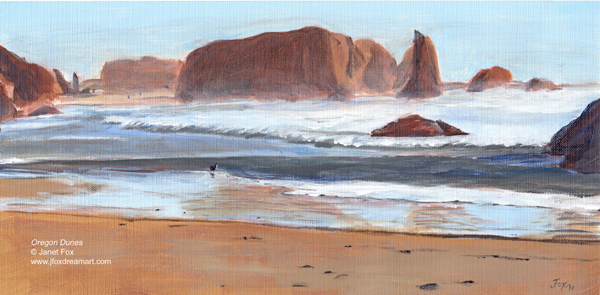 "An acrylic painting by Janet Fox titled ""Oregon Dunes."""