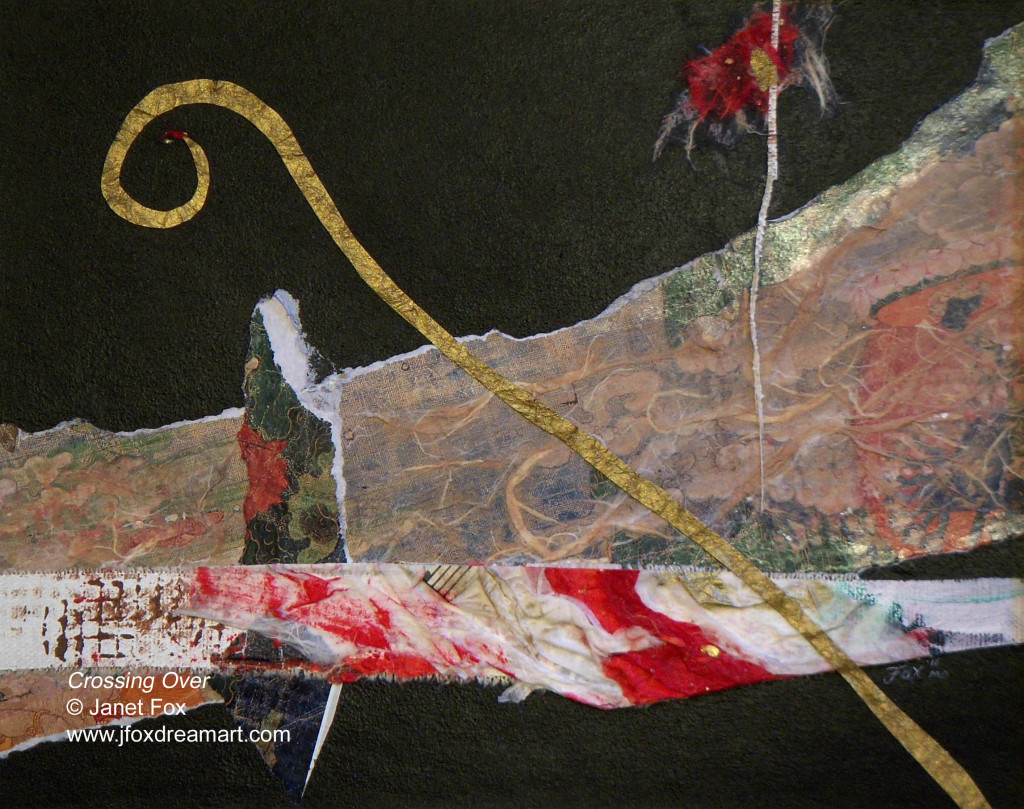 "Image of a mixed media painting by Janet Fox titled ""Crossing Over."""