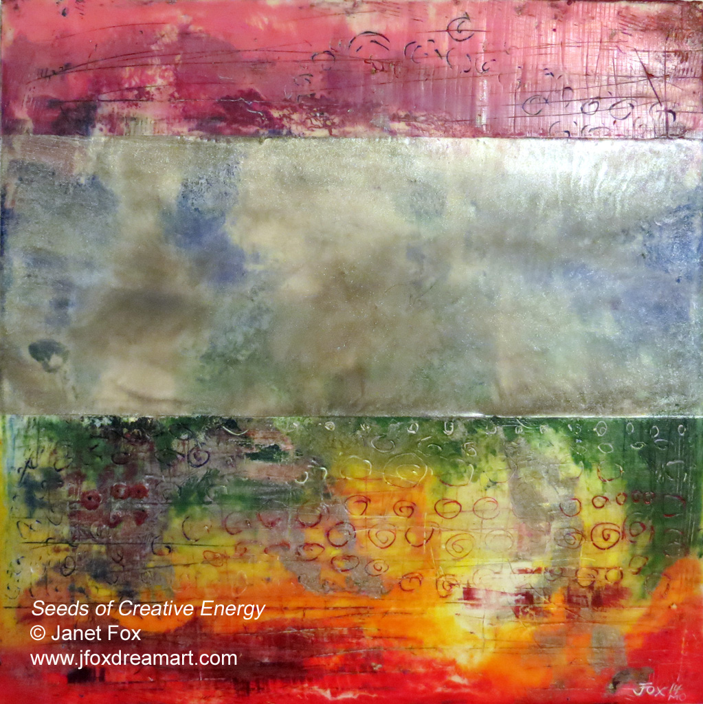 "Image of an encaustic painting by Janet Fox titled ""Seeds of Creative Energy."""