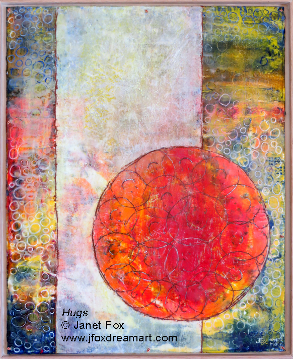 "Image of an encaustic painting by Janet Fox titled ""Hugs."""
