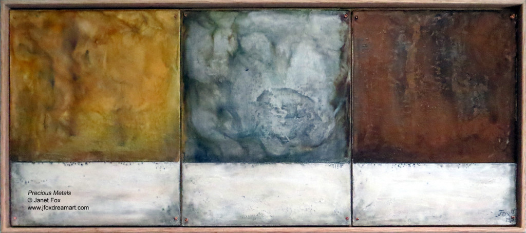 "Image of an encaustic painting by Janet Fox titled ""Precious Metals."""