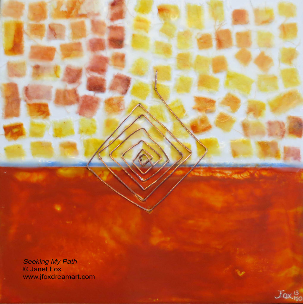 "Image of an encaustic painting by Janet Fox titled ""Seeking My Path."""