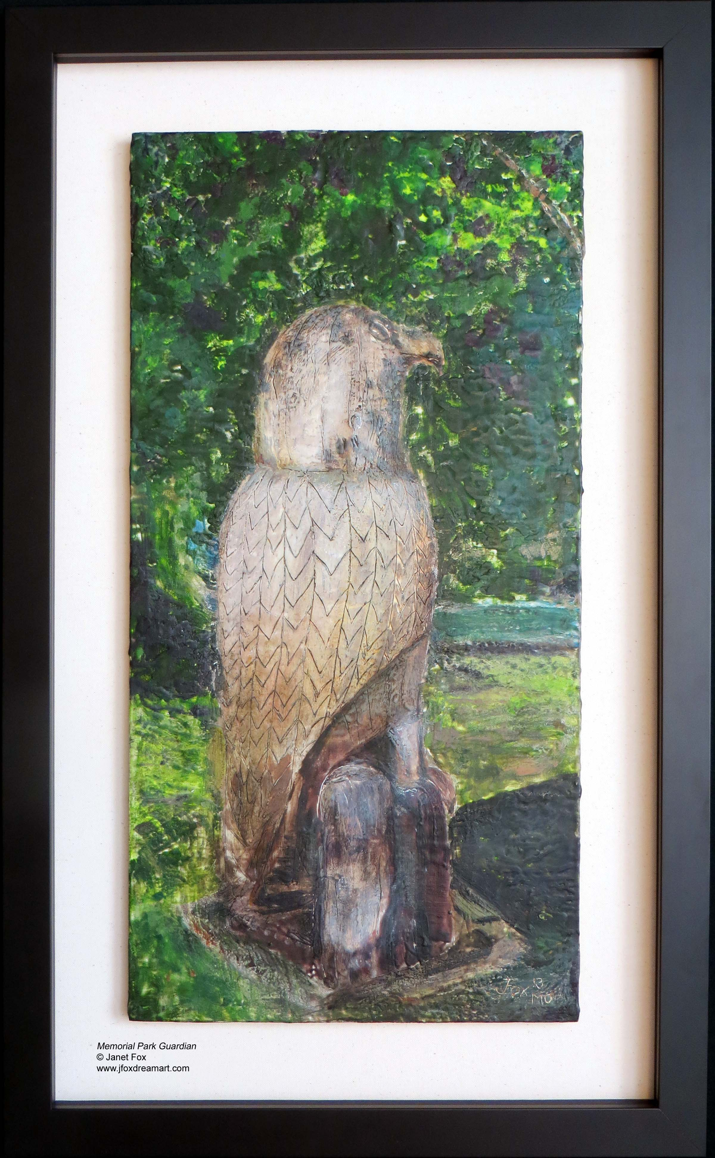 """Image of an encaustic painting by Janet Fox titled """"Memorial Park Guardian"""""""