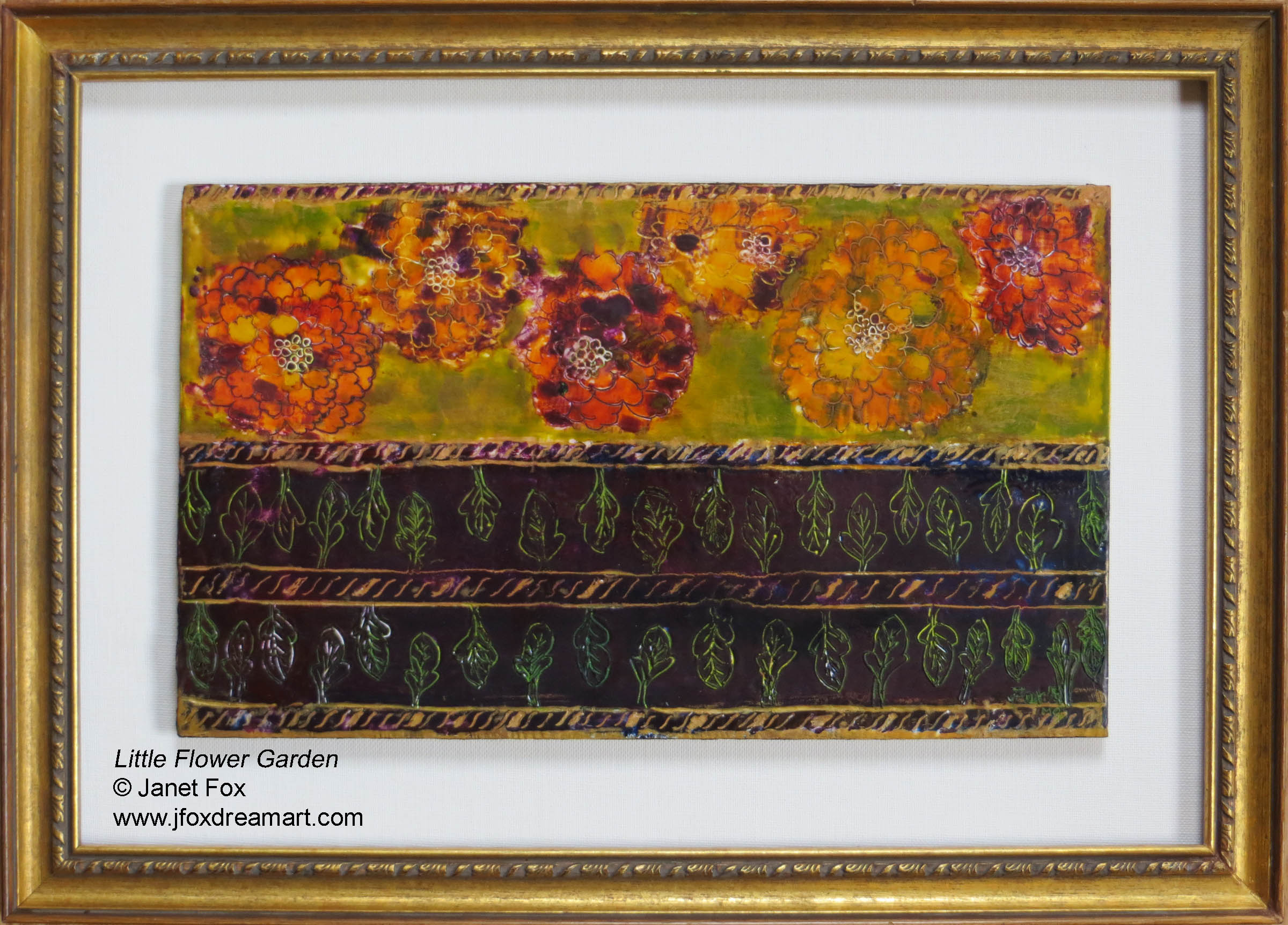 "Image of an encaustic painting by Janet Fox titled ""Little Flower Garden."""