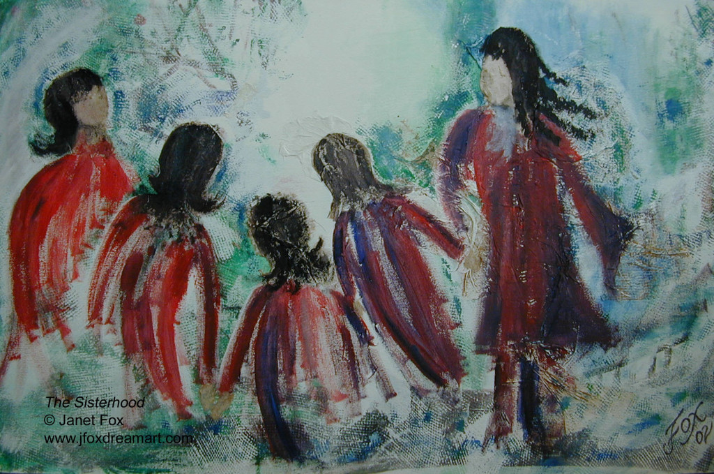 "Image of a mixed media painting by Janet Fox titled ""The Sisterhood."""