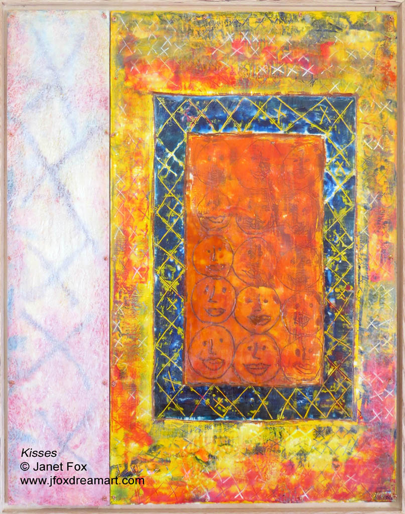 """Image of an encaustic painting by Janet Fox titled """"Kisses."""""""