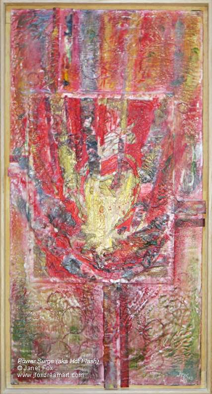 "Image of an encaustic painting by Janet Fox titled ""Power Surge (aka Hot Flash)."""