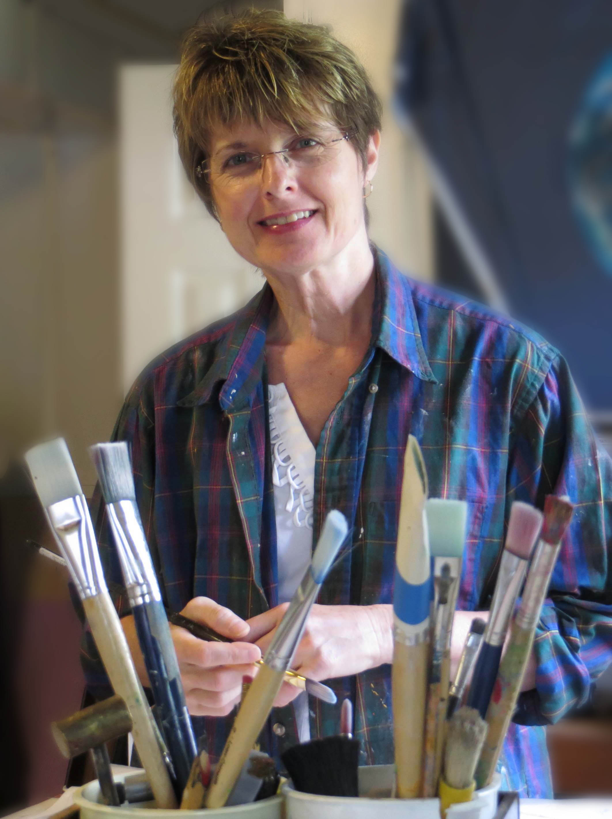 Artist Janet Fox in her art studio