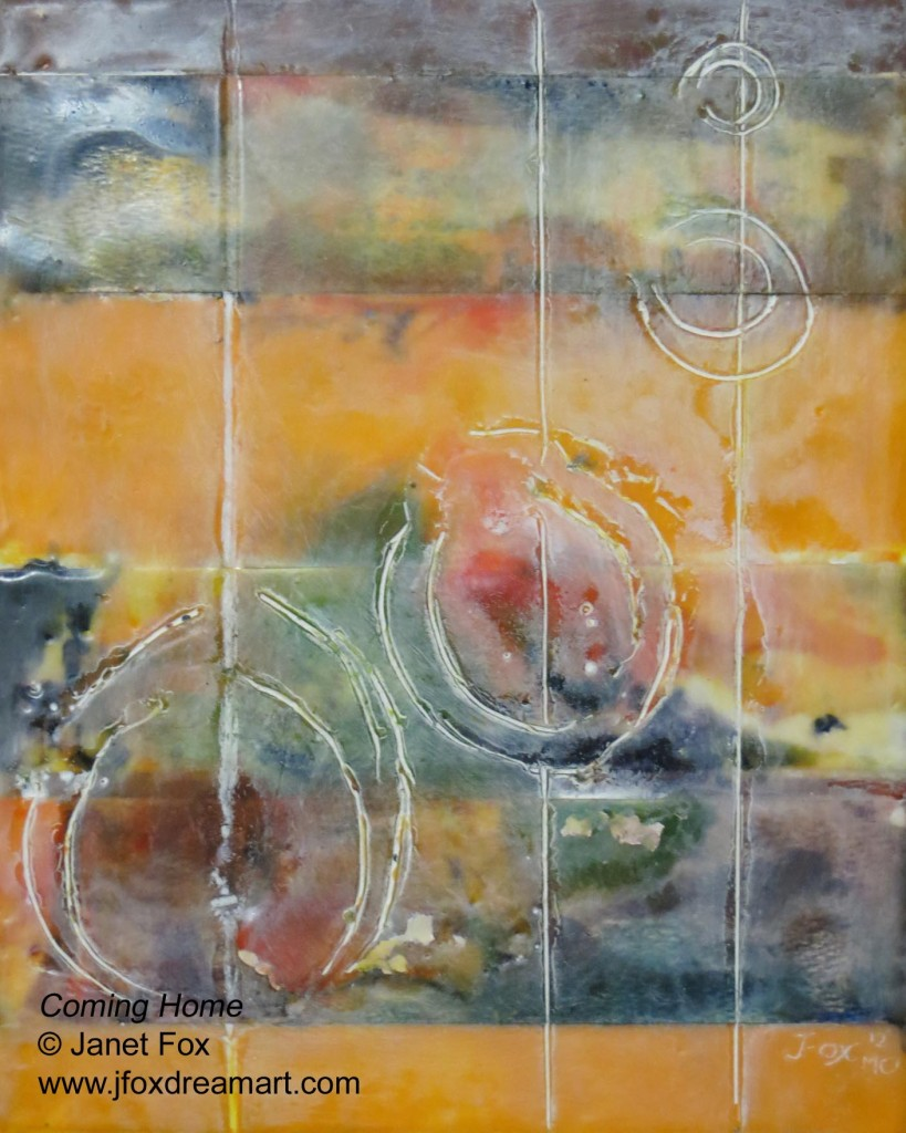 "Image of an encaustic painting by Janet Fox titled ""Coming Home."""