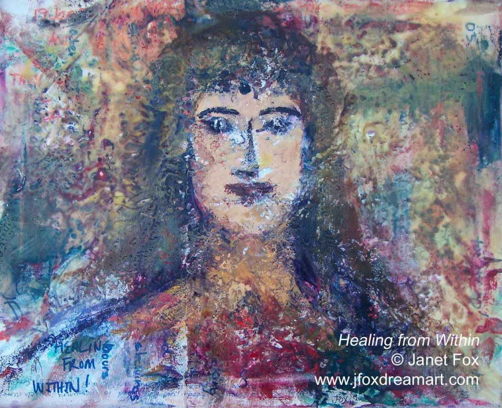 "Image of an encaustic painting by Janet Fox titled ""Healing from Within."""