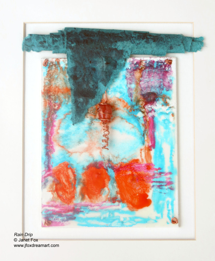 "Image of an encaustic mixed media painting by Janet Fox titled ""Rain Drip."""