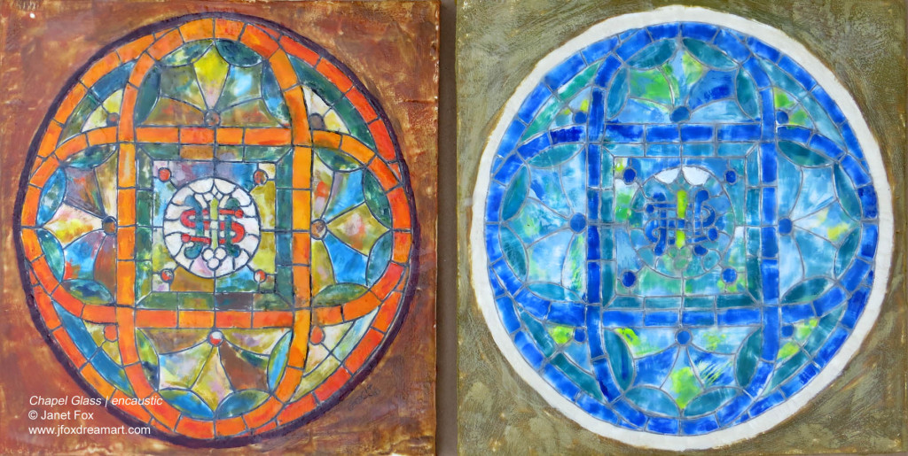 """Image of an encaustic painting by Janet Fox titled """"Chapel Glass."""""""
