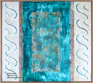"Image of an encaustic painting by Janet Fox titled ""Submerged."""