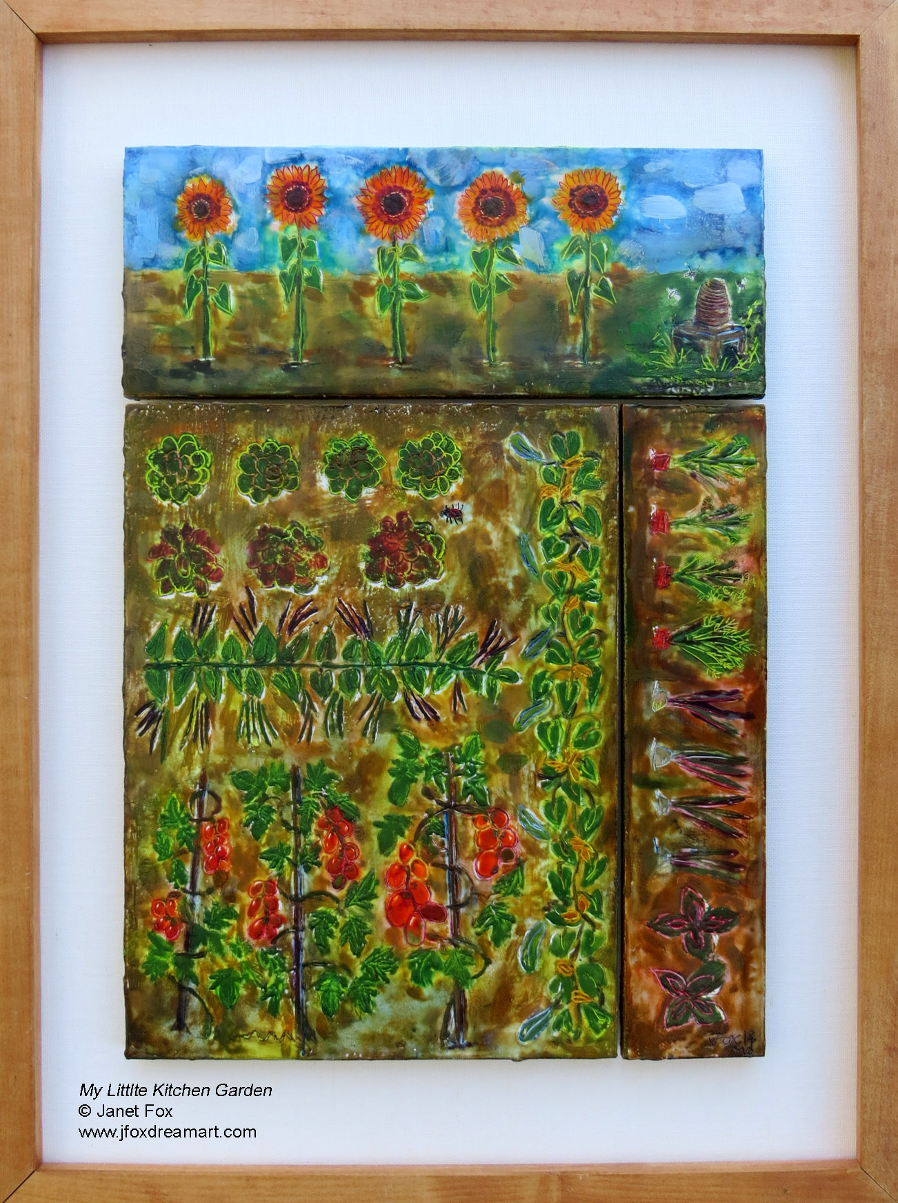 "Image of an encaustic painting by Janet Fox titled ""My Little Kitchen Garden."""