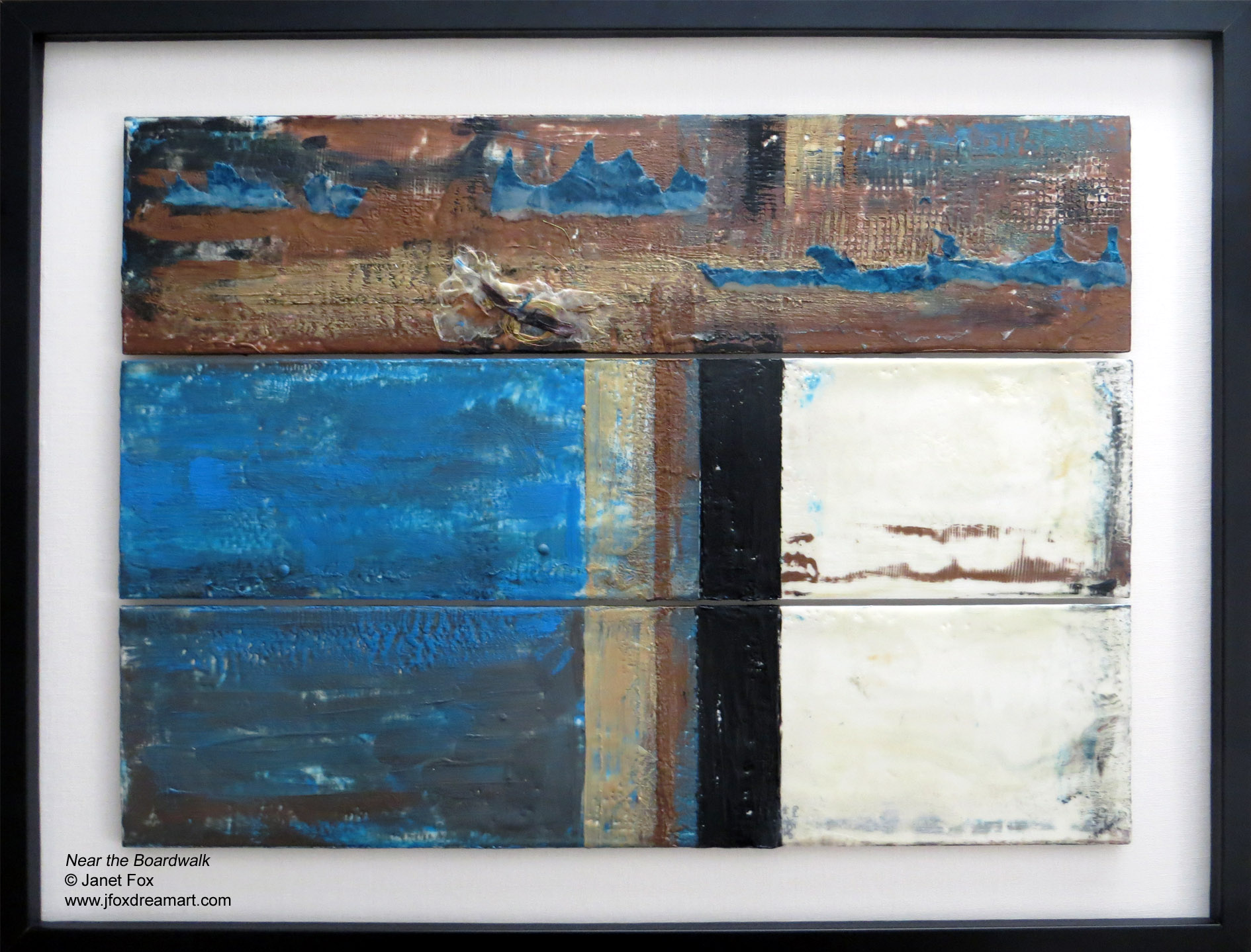 "Image of an encaustic painting by Janet Fox titled ""Near the Boardwalks."""