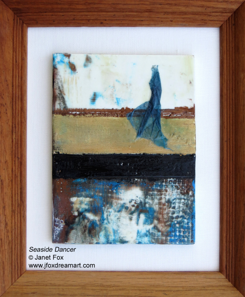 "Image of an encaustic painting by Janet Fox titled ""Seaside Dancer."""