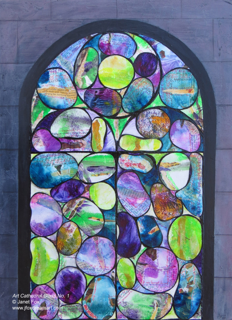 "Image of a mixed media painting by Janet Fox titled ""Art Cathedral Glass No. 1."""