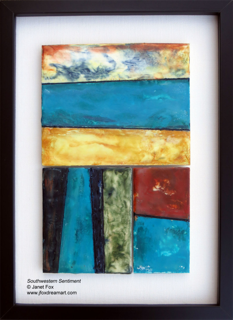 "Image of an encaustic painting by Janet Fox titled ""Southwestern Sentiment."""