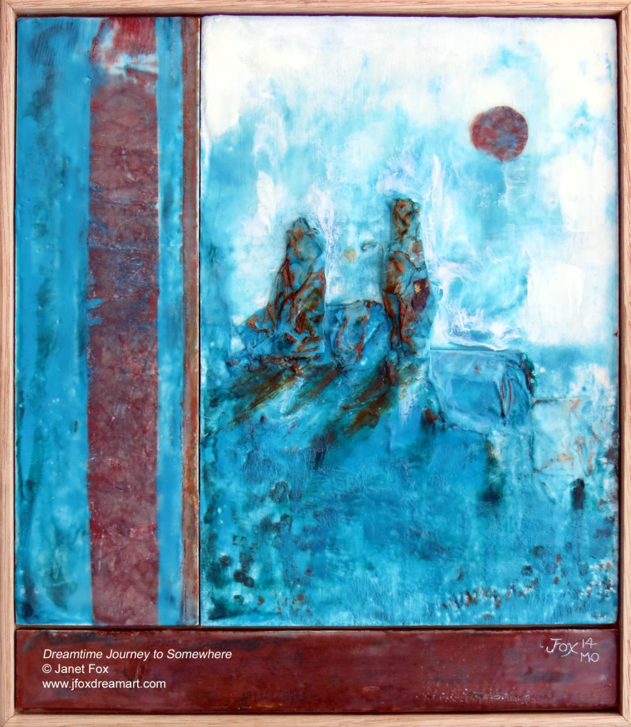 "Image of an encaustic painting by Janet Fox titled ""Dreamtime Journey to Somewhere."""