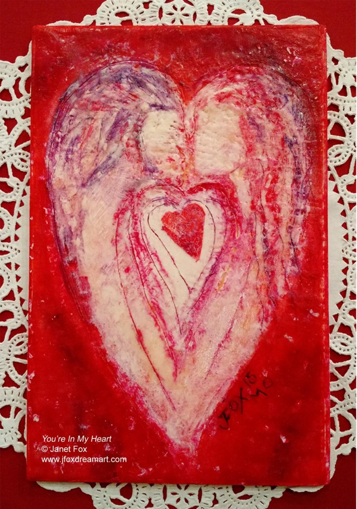 "Image of an encaustic painting by Janet Fox titled ""You're In My Heart."""