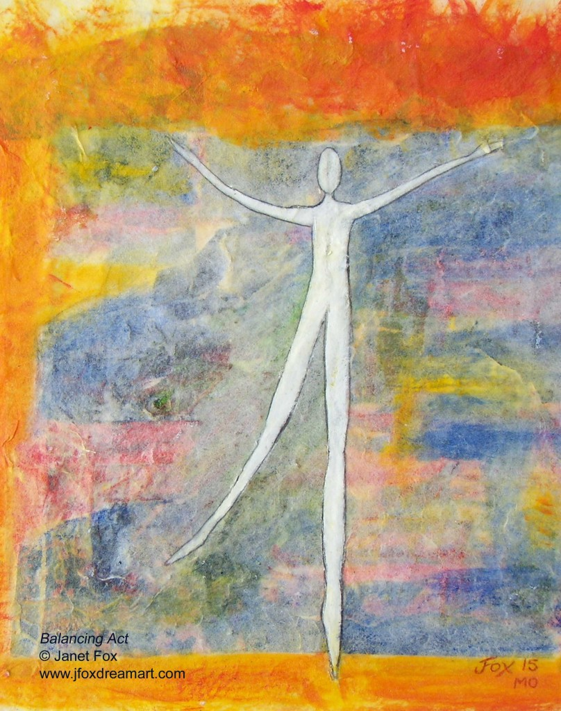 "Image of a mixed media painting by Janet Fox titled ""Balancing Act II."""