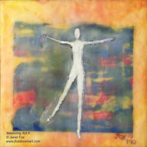 "Image of an encaustic painting by Janet Fox titled ""Balancing Act."""
