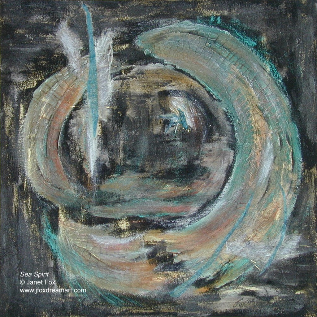 """Image of a mixed media painting by Janet Fox titled """"Sea Spirit."""""""
