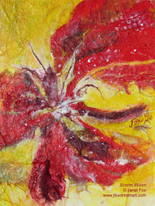 "Image of a mixed media painting by Janet Fox titled ""Scarlet Bloom."""