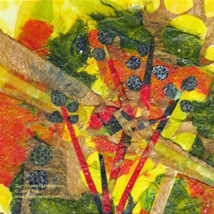 "Image of a mixed media painting by Janet Fox titled ""Sun Kissed Blackberries."""