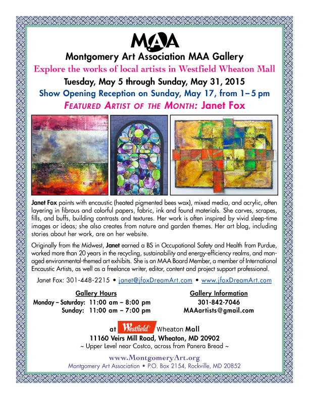 Flyer image for Janet Fox's Featured Artist Exhibit at Montgomery Art Association Gallery in Wheaton, MD.