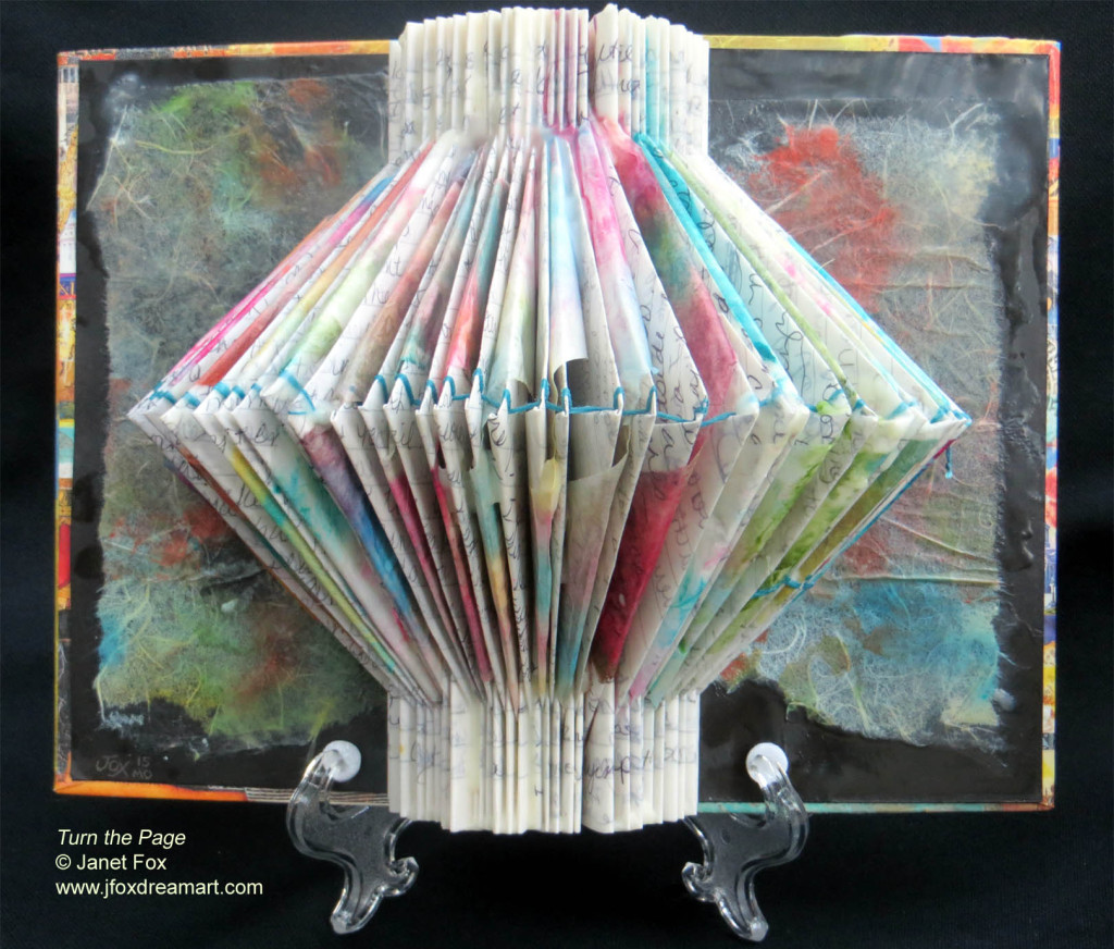 "Image of a encaustic, mixed media 3-D journal art by Janet Fox titled ""Turn the Page."""