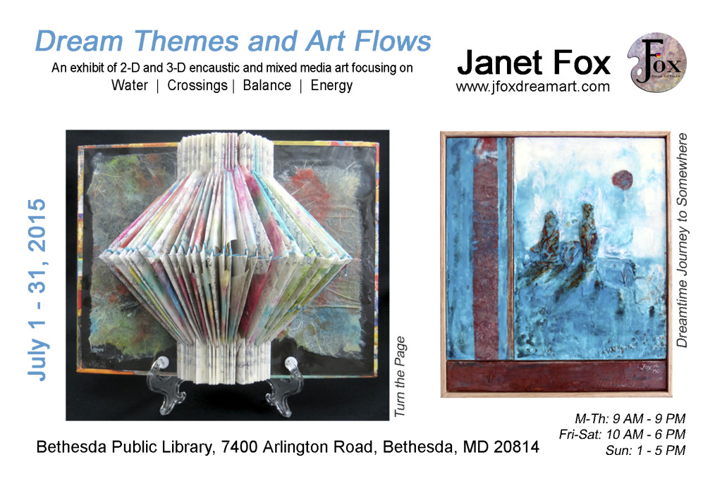 Postcard image for Janet Fox's Featured Artist Exhibit at the Bethesda Public Library in Bethesda, MD.