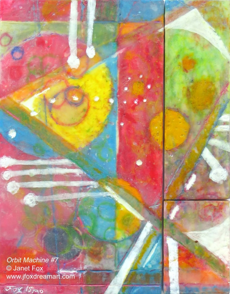 "Image of an encaustic painting by Janet Fox titled ""Orbit Machine #7."""
