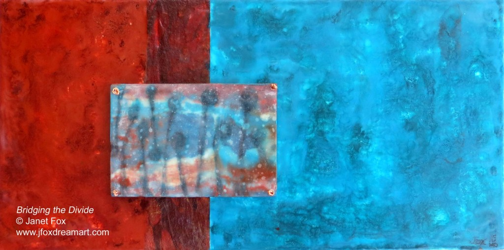 "Image of an encaustic painting by Janet Fox titled ""Bridging the Divide."""