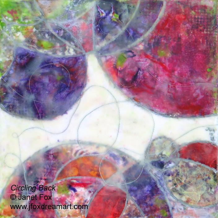 "Image of an encaustic painting by Janet Fox titled ""Circling Back."""