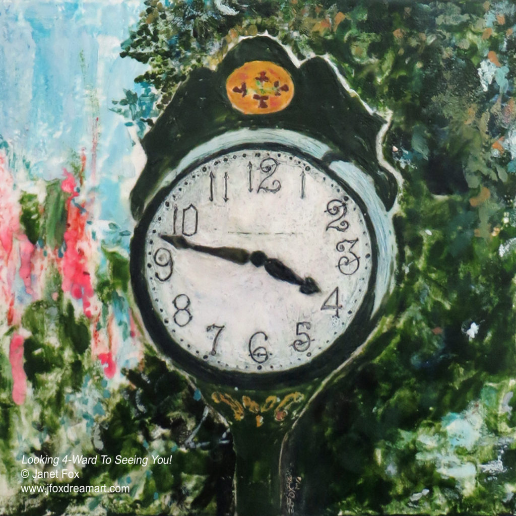 "Image of an encaustic painting by Janet Fox titled ""Looking Forward to Meeting You."""