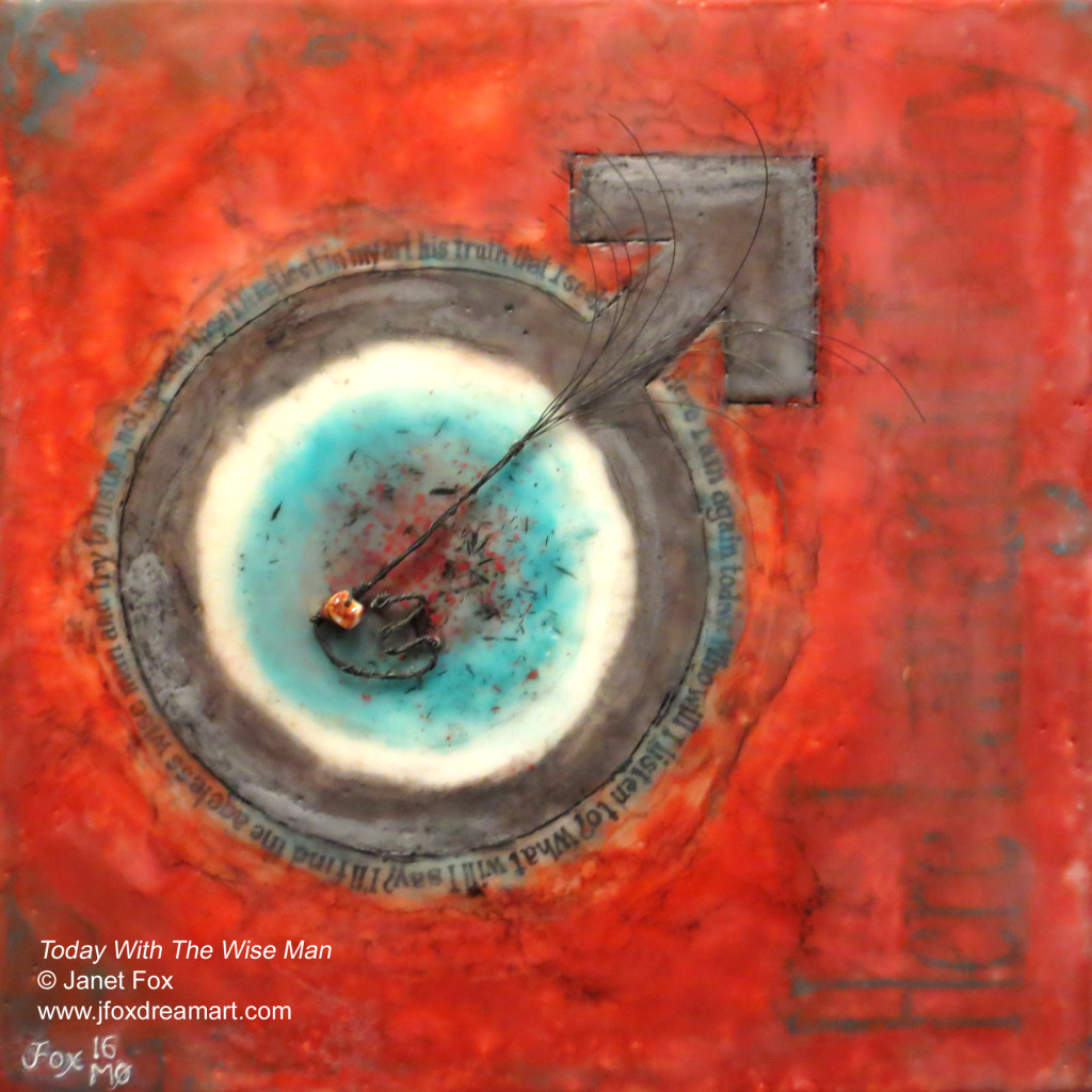 "Image of an encaustic painting by Janet Fox titled ""Today With The Wise Man."""