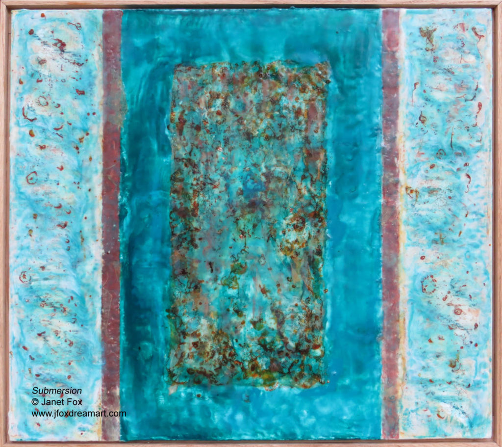 "Image of an encaustic painting by Janet Fox titled ""Submersion,"" previously ""Submerged."""