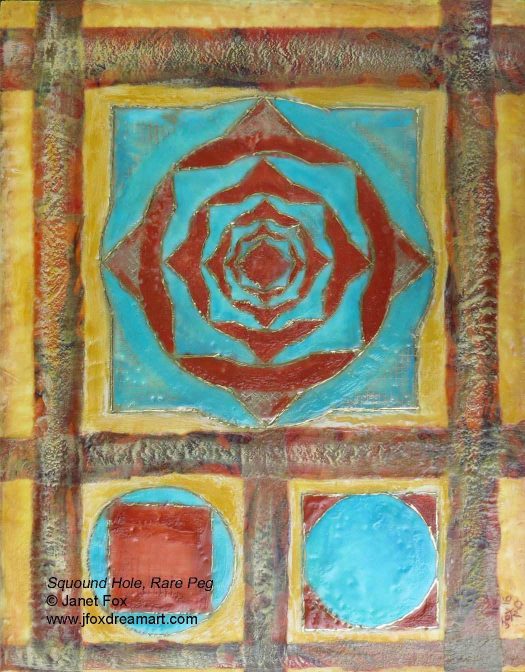 "Image of an encaustic painting by Janet Fox titled ""Squound Hole, Rare Peg."""
