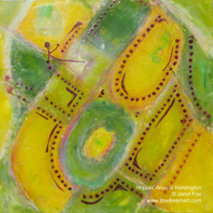 "Image of an encaustic painting by Janet Fox titled ""Hoppin' Around Kensington."""