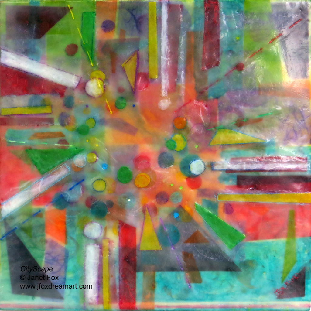 """Image of an encaustic and ink painting by Janet Fox titled """"CityScape."""""""