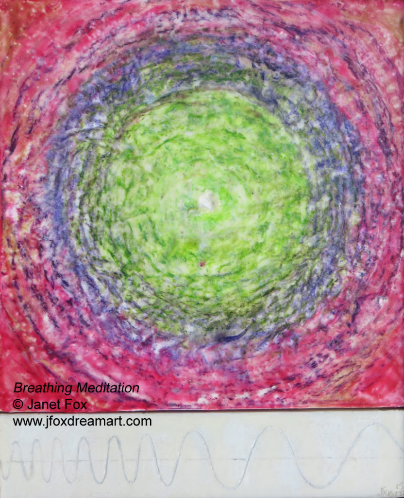 "Image of an encaustic painting by Janet Fox titled ""Breathing Meditation - Revised."""