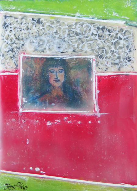 "Image of a mini encaustic painting by Janet Fox titled ""Portrait of a Woman."""