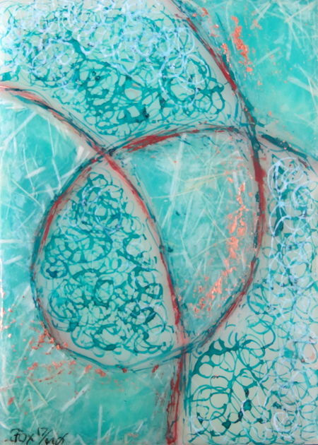 "Image of a mini encaustic painting by Janet Fox titled ""Turquoise and Copper."""
