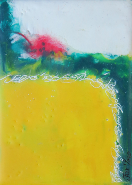 "Image of a mini encaustic painting by Janet Fox titled ""Red Yellow and Teal."""