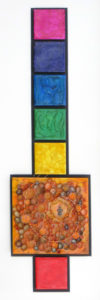 "Seven panel image of an encaustic mixed media painting by Janet Fox titled ""She Chi."""