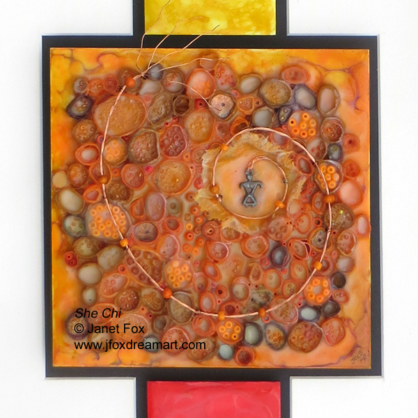 "Close-up image of an encaustic mixed media painting by Janet Fox titled ""She Chi."""