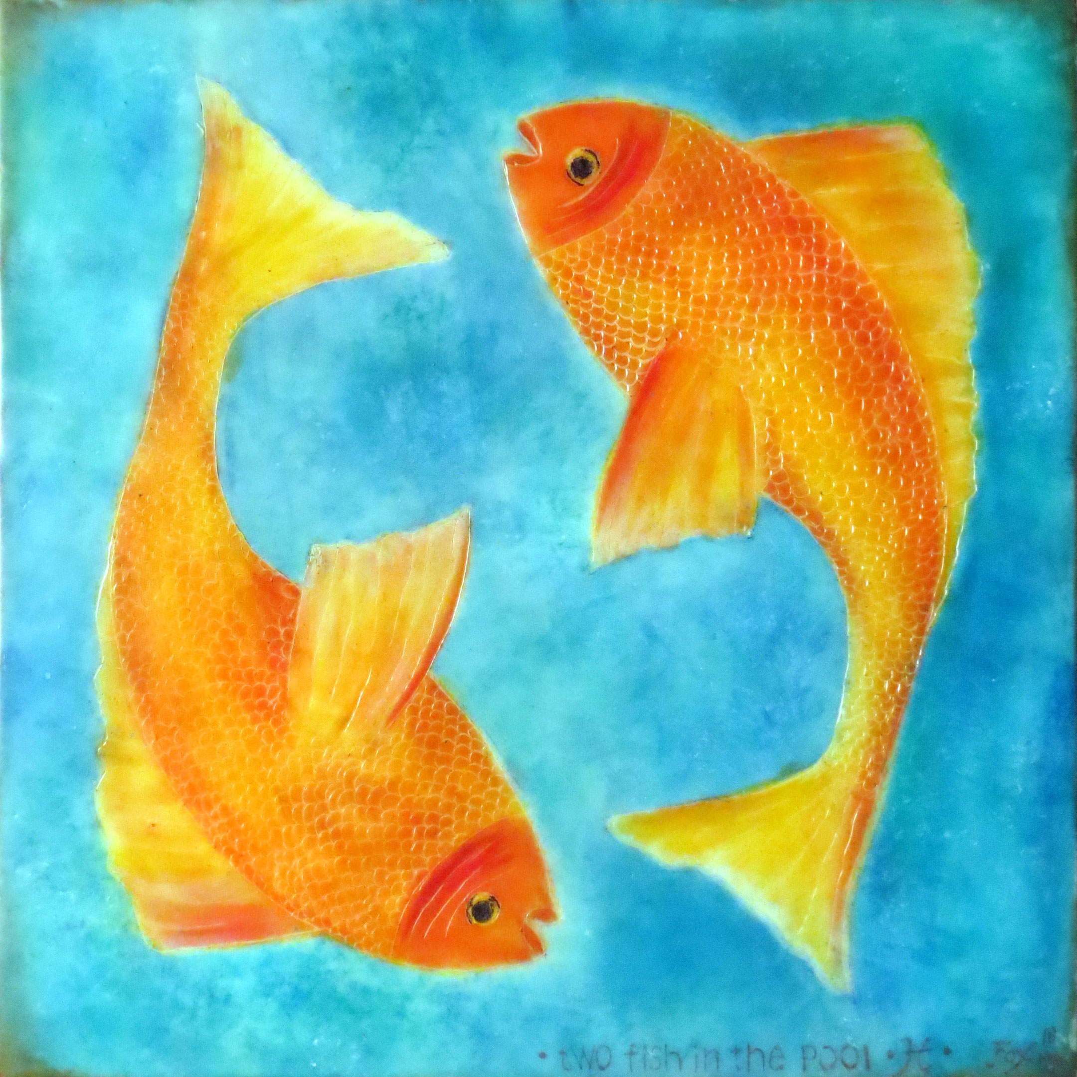 "Close-up image of an encaustic painting by Janet Fox titled ""Two Fish in the Pool."""